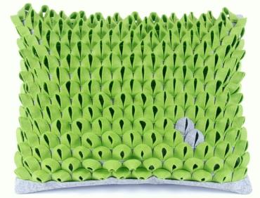 Design díszpárna - PIKKELYES kollekció - zöld-szürke