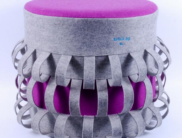 Szürke-bíbor lampion puff
