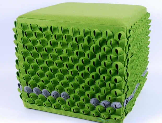Zöld pikkelyes kocka puff