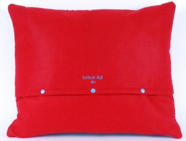 Design díszpárna - FOLK kollekció - piros-türkiz kék