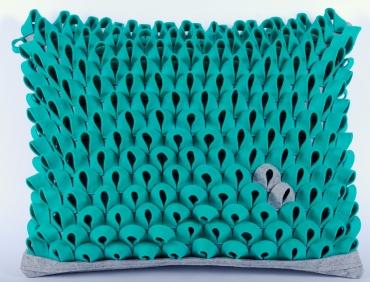 Design díszpárna - PIKKELYES kollekció - türkiz zöld-szürke