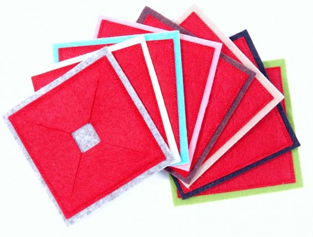 Pohárjelölő - Négyzet piros